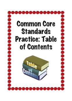 Common Core Standards Practice: Table of Contents