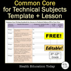 Common Core Standards for Technical Subjects Template FREE