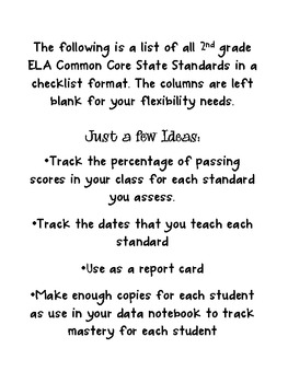 Common Core State Standards {2nd Grade Flexible Checklist}