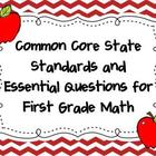 Common Core State Standards and Essential Questions for 1s