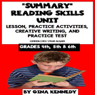Common Core Summarize (Summary) Reading Skills Review And