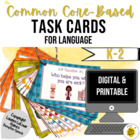 Common Core Task Cards for Speech Therapy K-2