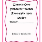 Common Core Teacher Journal Grade 4 Math Standards