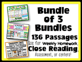 Common Core Text Evidence Bundle of 3 for Close Reading, H