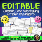 Vocabulary Graphic Organizers Common Core Language {Grades 6-12}