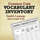 Common Core Vocabulary Inventory ELA Grades 9-10 (Pre- and