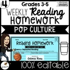 Common Core Weekly Reading Homework (Grades 3-5) - Pop Culture