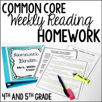 Common Core Weekly Reading Homework Review {Complete Set: 36 Texts}