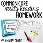 Common Core Weekly Reading Homework Review {Complete Set: