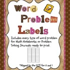 Common Core Word Problems- Read to Print Labels