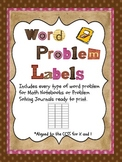 Common Core Word Problems- Ready to Print Labels