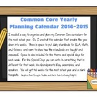 Common Core Yearly Planning Calendar for 2014-2015
