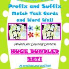 Common Core prefixes and suffixes match task cards and wor