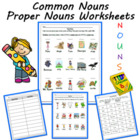 Common Nouns and Proper Nouns K -1 Worksheets