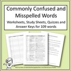 Commonly Confused and Misspelled Words - Vocabulary Work