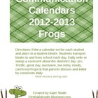 Communication Calendars Frogs Version