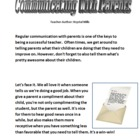 Communication with Parents: Sample Letter to Parents, Good
