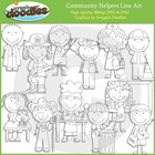 Community Helpers Line Art