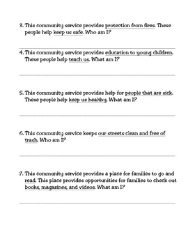 Community Services Memory Game and Activity
