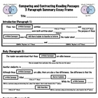 Compare &amp; Contrast 3 Paragraph Essay Frame (Learning Initi