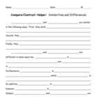 Compare Contrast Helper Similarities and Differences Format