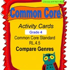 Compare Genres Activity Cards Grade 4 Common Core RL.4.5