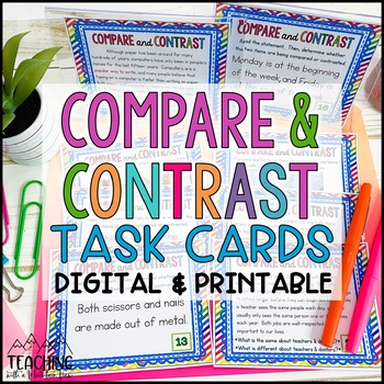 Compare and Contrast Task Cards { Pictures & Text } Differ