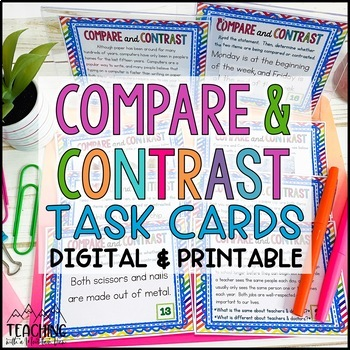 Compare and Contrast Task Cards { Pictures & Text } Differentiated Cards