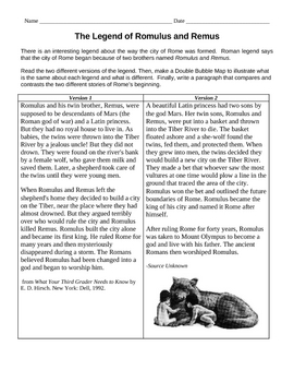 Compare/Contrast: The Legend of Romulus & Remus