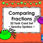 Comparing Fractions Task Cards - Spooky Spiders - Halloween