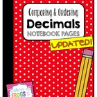 Comparing & Ordering Decimals Journal Page