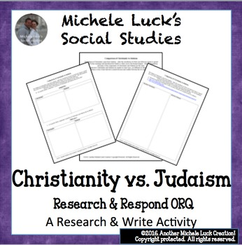 Comparison of Christianity to Judaism Research Sheet and ORQ