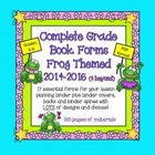 Complete Grade Book Forms: Frog Themed with Binder Covers