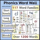 Illustrated Phonics Word Wall: Short Vowels, Long Vowels, Blends