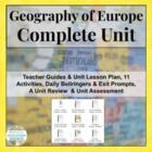 Complete Unit on European Geography Europe Physical and Human Geo