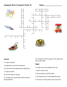 Compound Word Crossword Puzzle II