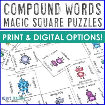 Compound Words Magic Square for 3rd, 4th, and 5th