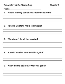 Comprehension Questions for The Mystery of the Missing Dog