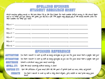 Comprehension Spinners for Reading Math Spelling and Socia