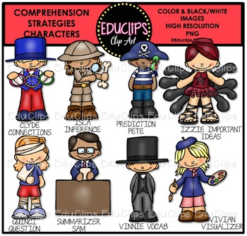 Comprehension Strategies Characters Clip Art Bundle