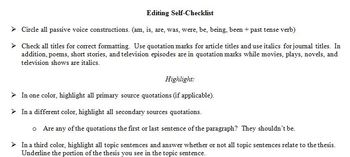 Comprehensive Self-Editing Checklist