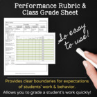 Computer Class Grading Rubric &amp; Grade Sheet