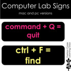 Computer Lab Signs with Black Background