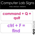 Computer Lab Signs with White Background