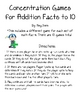 Concentration or Memory Games for Addition Facts 1-10