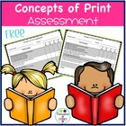 Concepts of Print Assessment Freebie