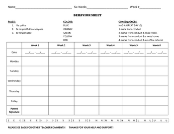 Conduct Behavior Sheet
