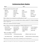 Conference Sheet For Reading