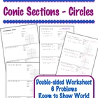 Conic Sections - Circles Worksheet - Standard Form & Graph