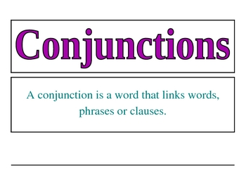 Conjunctions Word Wall Display